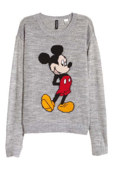 Fine-knit jumper - Grey/Mickey Mouse -  | H&M CN