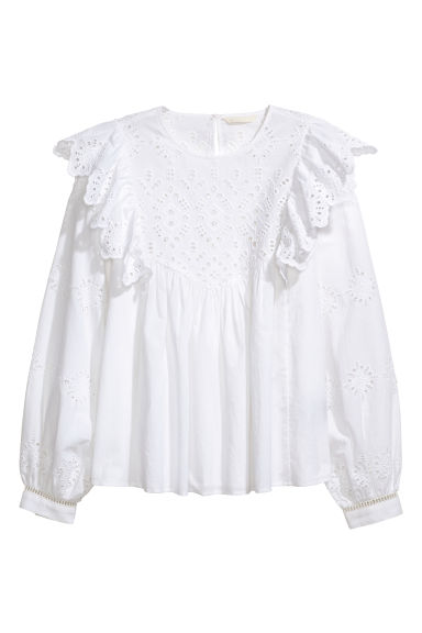 Blus med broderie anglaise Modell