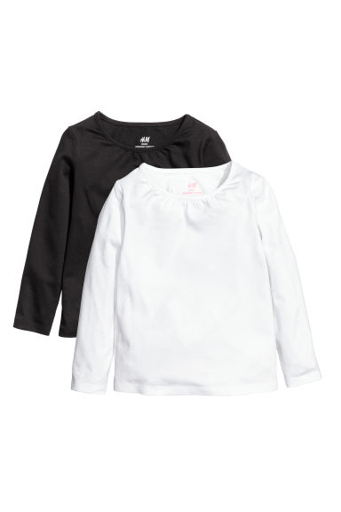 2-pack jersey tops - White/Black - Kids | H&M CN