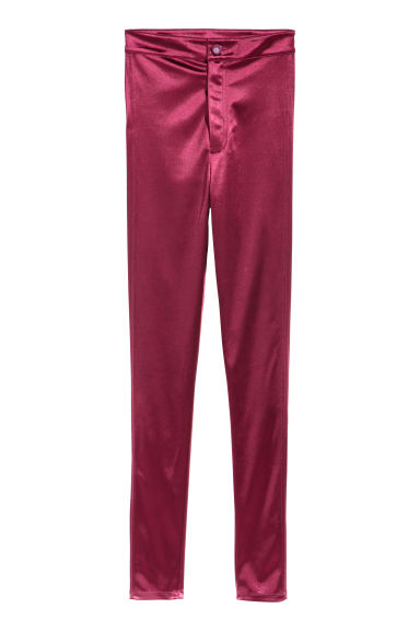 Glanzende stretchbroek - Bordeauxrood - DAMES | H&M NL