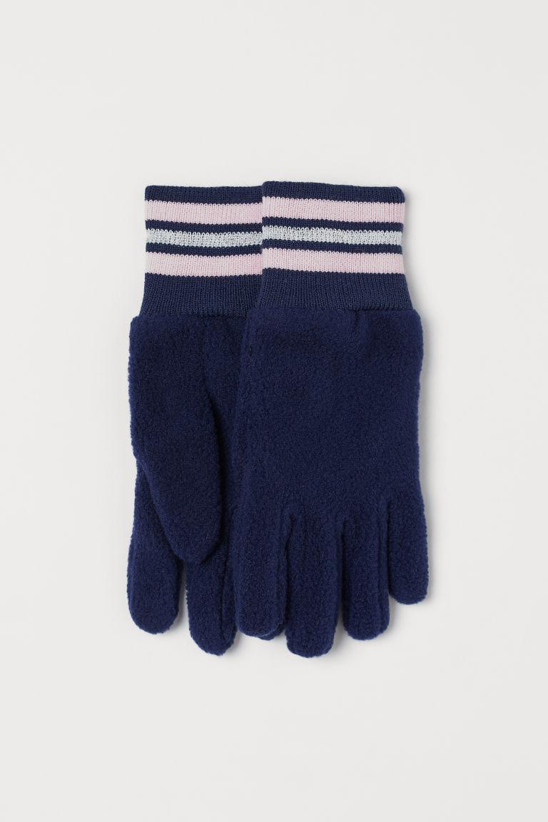 Fleece gloves - Dark blue - Kids | H&M GB