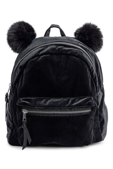 Velour backpack - Black -  | H&M CN 1