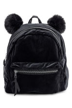 Velour backpack - Black -  | H&M 1