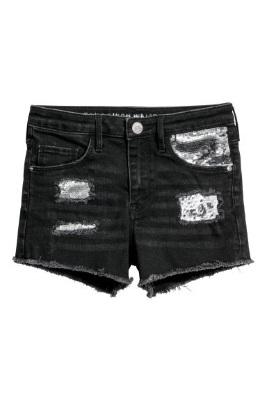 Denim shorts with sequins - Black/Sequins - Kids | H&M