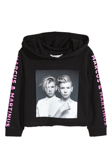 Printed cropped hooded top - Black/Marcus & Martinus -  | H&M