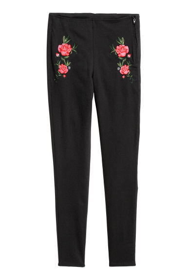 Embroidered stretch trousers - Black/Flowers -  | H&M CN