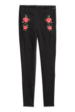 Embroidered stretch trousers - Black/Flowers - Ladies | H&M IE 2