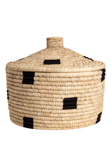 Braided straw basket - Natural/Black - Home All | H&M IE