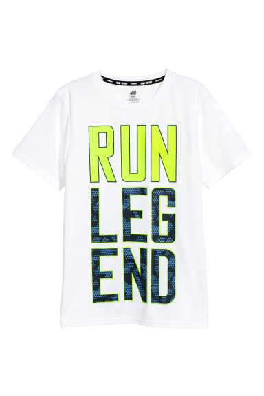 Short-sleeved sports top - White -  | H&M