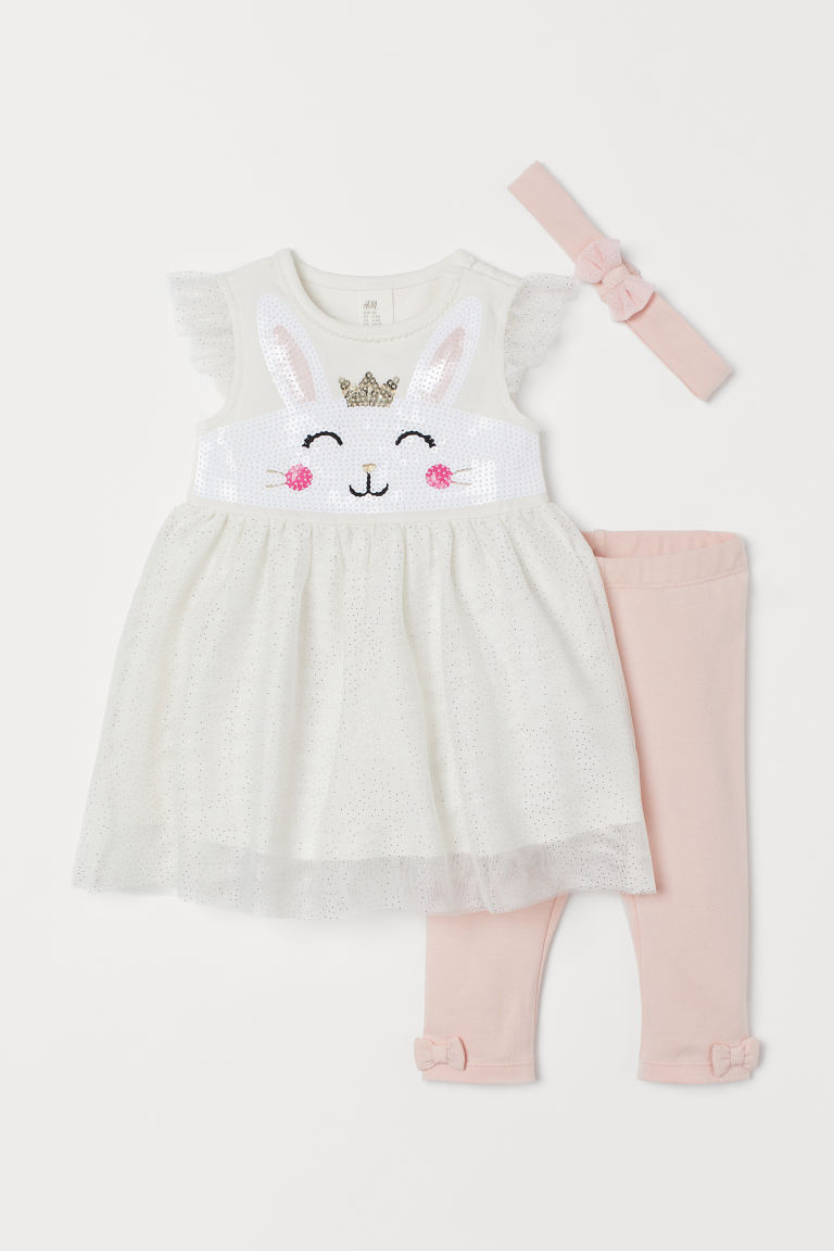 3-piece set with sequins - White/Light pink - Kids | H&M GB