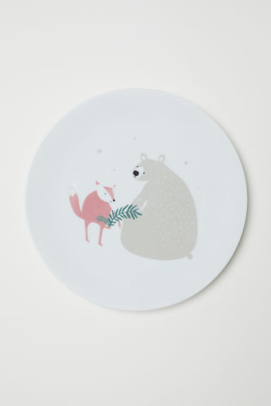 Printed plate - White/Animals - Home All | H&M CN