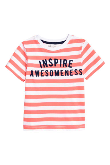 T-shirt avec impression - Orange/rayé -  | H&M FR