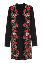 Abito in velour - Nero/fiori - DONNA | H&M IT 2