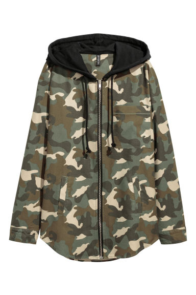 Hooded flannel shirt - Khaki green/Patterned - Ladies | H&M