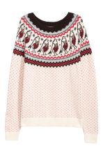 Jacquard-knit jumper - Light beige - Ladies | H&M CN 2
