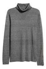 Cotton-blend polo-neck jumper - Grey marl - Men | H&M GB 2
