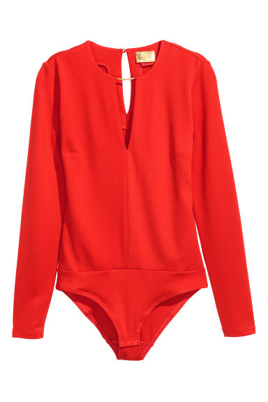 Body with neck decoration - Bright red - Ladies | H&M CN