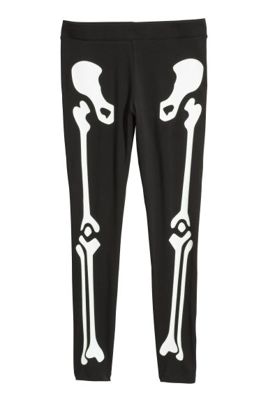Jersey leggings - Black/Skeleton - Ladies | H&M