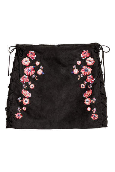 Imitation suede skirt - Black/Flowers -  | H&M