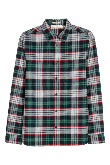 Flannel shirt Regular fit - Green/Checked -  | H&M
