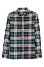 Flannel shirt Regular fit - Green/Checked - Men | H&M IE 2