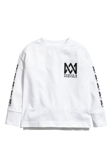 Printed jersey top - White/Marcus & Martinus - Kids | H&M GB