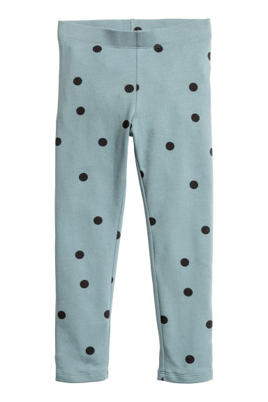 Sturdy jersey leggings - Dusky blue/Spotted - Kids | H&M CN