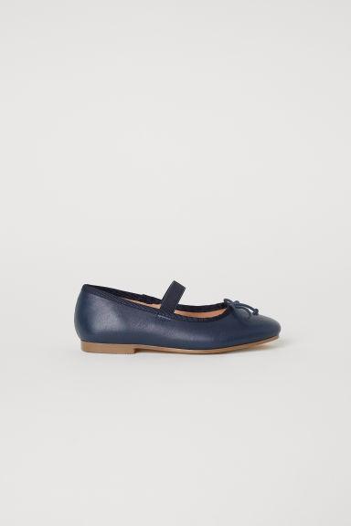 Leather ballet pumps - Dark blue - Kids | H&M GB