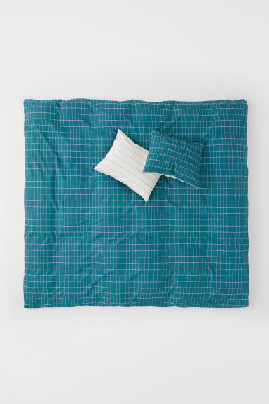 Cotton Duvet Cover Set - Dark turquoise/checked - Home All | H&M CA