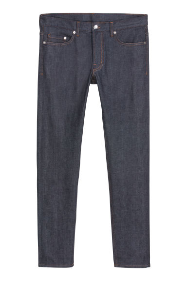 Slim Selvedge Jeans - 深蓝色/非水洗牛仔布 - Men | H&M CN