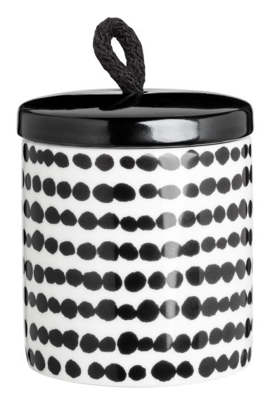 Cylindrical pot - White/Black spotted -  | H&M GB