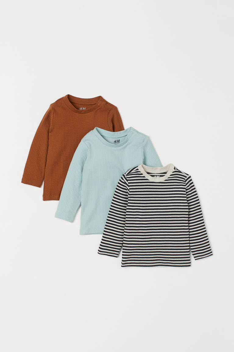 3-pack ribbed jersey tops - Black/White striped - Kids | H&M GB