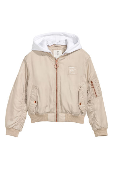 Hooded bomber jacket - Light beige/White - Kids | H&M