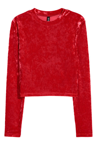 Crushed velvet top - Red - Ladies | H&M IE