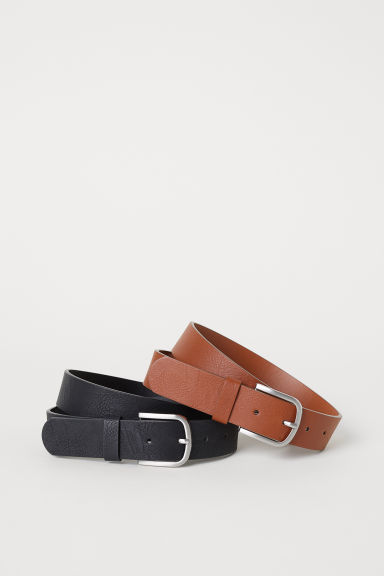 2-pack belts - Black/Cognac brown - Men | H&M
