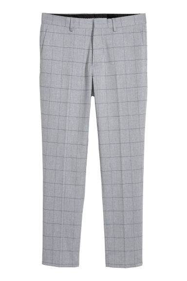 Suit trousers Skinny fit - Light grey/Checked -  | H&M