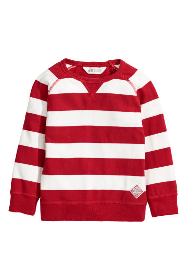 Cotton piqué top - Red/White striped -  | H&M CN