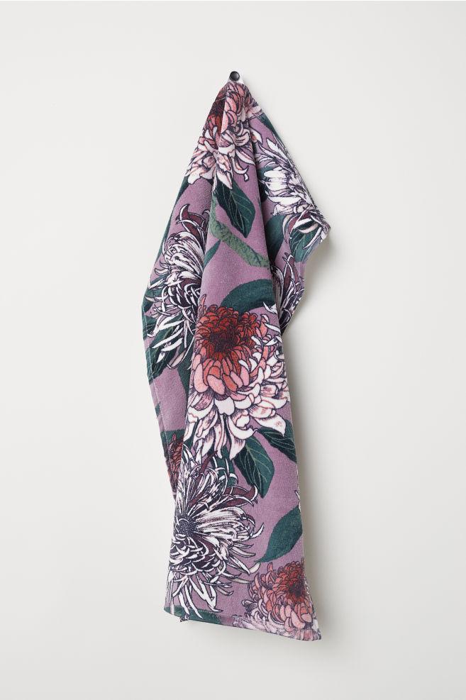 Patterned Hand Towel - Purple/floral - | H&M US 1