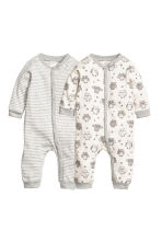 2-pack jersey pyjama suits - Natural white/Owl - Kids | H&M CN 1