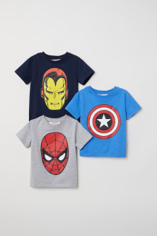 3-pack printed T-shirts