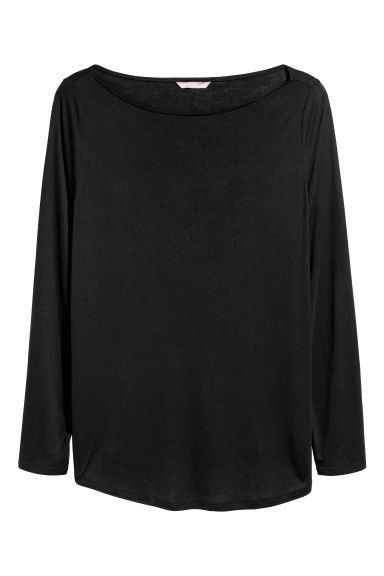 H&M+ Long-sleeved top - Black - Ladies | H&M IE