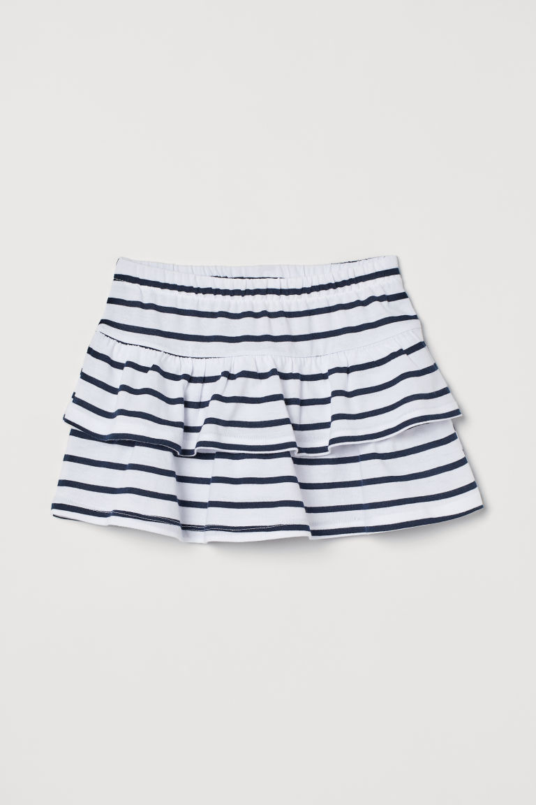 Tiered skirt - White/Blue striped - Kids | H&M GB