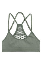 Seamless bra top - Khaki green - Ladies | H&M 2