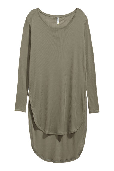 Long jersey top - Khaki green -  | H&M