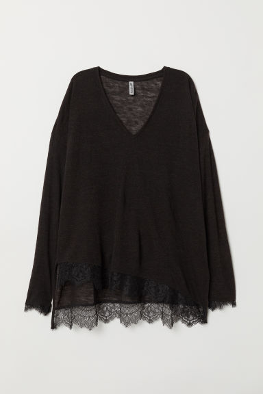 Fine-knit jumper with lace - Black -  | H&M