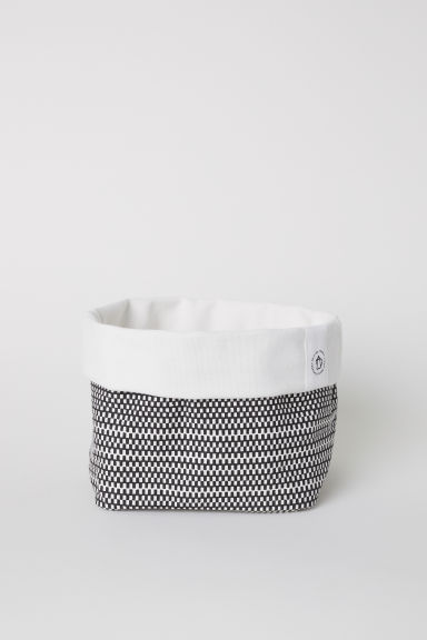 Canvas storage basket - White/Anthracite grey - Home All | H&M CN