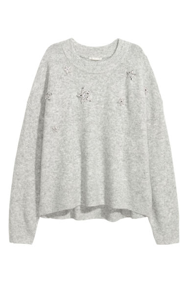 Knitted beaded jumper - Light grey/Stars - Ladies | H&M GB