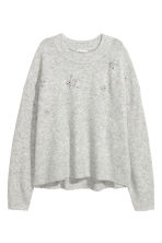 Knitted beaded jumper - Light grey/Stars - Ladies | H&M 2