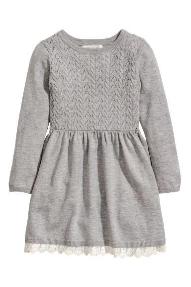 Knitted dress - Grey - Kids | H&M