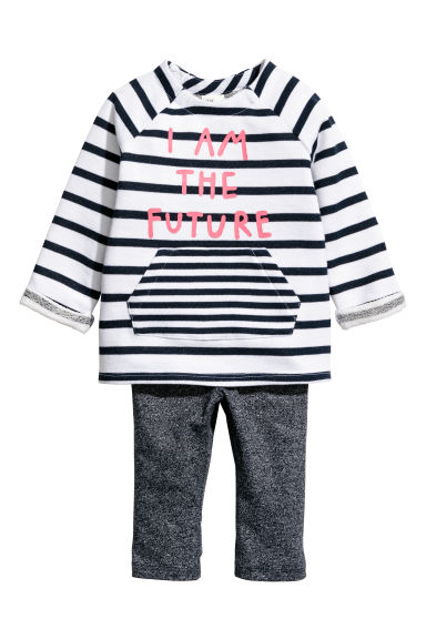 Sweatshirt and leggings - White/Blue striped - Kids | H&M